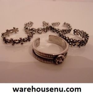 Five Silver Adjustable Rings 10231902